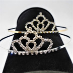 Gold/Silver Rhinestone Tiara Headbands Clear Stones (572) .65 each