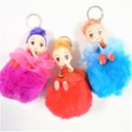 "5"" Faux Fur Pom Pom Keychains w/ Dressed Doll  12 per bx .56 ea"