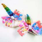 "3.5"" X 3.5"" Rainbow Unicorn  Gator Clip Bows 12 per bx .52 ea"