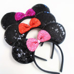 "Big 8"" Sequin Mouse Ear Headbands w/ Sparkle Bow .56 each"