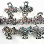 "2.25"" Silver  Cast Metal Jaw Clip w/ Crystal Stones  DBL Heart 12 per pk  .54 ea"