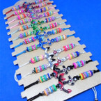 Cord Beaded Bracelet w/ Colorful Anchor  12 per cd .54 each