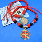 All Red Macrame Bracelets w/ St. Benito Dbl Side Charm  .54 each