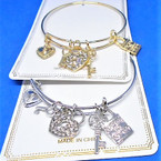Gold & Silver  Wire Bangle w/ Lock & Key Charms  .56 each
