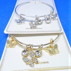 Gold & Silver  Wire Bangle w/ Butterfly Charms  .54 each