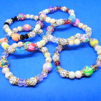 Multi Style Beaded Hi Fashion Bracelet w/ Cry. Fireball Beads .54 ea