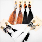 "4"" Fashion Tassel Earrings w/ Oval Top  4 colors .54 ea"