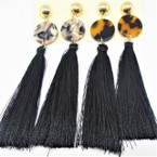 "3.75"" Fashion Tassel Earrings Black  w/ Round Top   .54 ea"