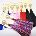 "3.75"" Fashion Tassel Earrings  w/ Crystal Pearl Top   .54 ea"