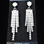"2.5"" 5 Strand Prom Silver Rhinestone Earrings Clear Stones .56 each"