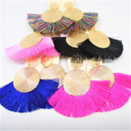 "2.5"" 2 Pc Gold Top Fashion Tassel Earrings  .54 each"