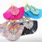 "3"" Design Wood Top Fashion Tassel Earrings  .54 each"
