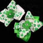 "5"" St. Patrick's Layered Bow w/ Glitter Shamrock .54 each"