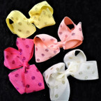 "4.5"" 2 Layer  Gator Clip Bows w/ Sparkle Glitter   24 per pk ONLY .35 each"