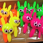 "7"" Flashing Squeaky Bunny Rabbits Asst Colors 12 per display bx .65 each"