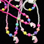 Kids Colorful Pearl Necklace & Bracelet Set w/ Unicorn .54 per set