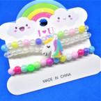 Kid's 3 Pk Colorful Stretch Bracelets w/ Unicorn .50 per set