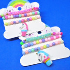 Kid's 3 Pk Colorful Stretch Bracelets w/ Unicorn & Sparkle Strand .54 per set