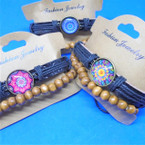 Leather  Bracelets w/ Center Design Charm Plus Wood Bead Bracelet .54 ea set