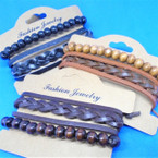 3 Strand Leather  Bracelets w/ Wood Bead Bracelet .54 ea set
