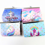 "3.5"" Unicorn Theme Snap Closure Coin Purse w/ Gold Sparkle Stars .56 ea"