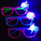 Two Tone Novelty Glasses w/ Flashing Unicorn (T201) .55 each