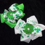"5"" St. Patrick's Layered Bow w/ Glitter Shamrock (43)  .54 ea"