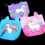"4"" X 5"" Best Quality Unicorn Zipper Coin Purse w/ Keychain 12 per pk .56 ea"