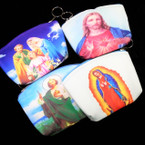 "4"" X 5"" Best Quality Saint Picture  Zipper Coin Purse w/ Keychain 12 per pk .56 ea"
