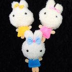 "So Cute 5"" Plush Bunny Keychains 3 colors 12 per pk .58 each"