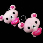 "So Cute 3.5"" Pink Love Bear Plush Keychains 12 per pk .58 each"