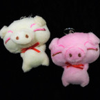 "So Cute 3"" Pink/White Piggy Plush Keychains 12 per pk .56 each"