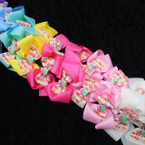 "4.5"" Mixed Color Gator Clip Bows w/ Cupcake Theme 24 per pk ONLY .35 eac"