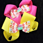 "4.5"" Mixed Color Gator Clip Bows w/ Cupcake Theme 24 per pk ONLY .35 each"