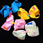 "5"" Colorful Gator Clip Bows w/ Mini Poka Dot Bows .54 each"