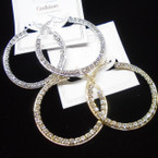 "1.75"" Gold & Silver Rhinestone Fashion Hoop Earrings .54 per pair"