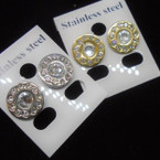 Petite Gold & Silver Stainless Earrings w. Crystal Stones .50 ea pair