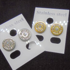 Petite Gold & Silver Stainless Steel Earrings w. Crystal Stones .50 ea pair