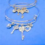 Popular Gold & Silver  Wire Bangle w/ Hi Fashion Charms   .54 each