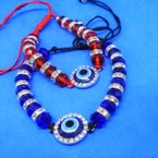 Blue & Red Crystal Beaded Bracelet w/ Eye of Protection Bead .54 each