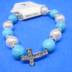 Turquoise & Pearl Stretch Bracelet w/ Cry. Stone Cross .54 each