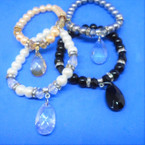 Elegant Glass Bead Stretch Bracelet w/ Cry. Stone Charm  .54 each