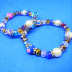 Crystal,Pearl & Fimo Multi Bead Stretch Bracelets  .54 each