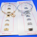 8 Pc Gold & Silver Toe Ring Set w/ Bangle Bracelet .54 each set