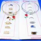 8 Pc Gold & Silver Toe Ring Set w/ Bangle Bracelet w/ Rose  .54 each set