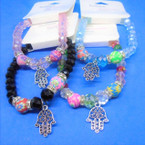 Crystal & Fimo Bead Stretch Bracelet w/ Silver Hamsa Charm   .54 each