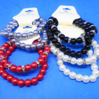 2 Strand Elegant Crystal Bead & Glass Pearl Stretch Bracelets  .54 each