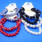 2 Strand Elegant Crystal Bead & Glass Pearl Stretch Bracelets  .54 each