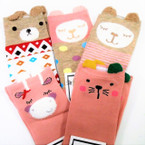 Cute Mixed Animal Asst Color Kid's Socks w/ Pom Pom  .54 per pair