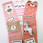 Cute Mixed Animal Asst Color Kid's Socks w/ Pom Pom (72)  .54 per pair